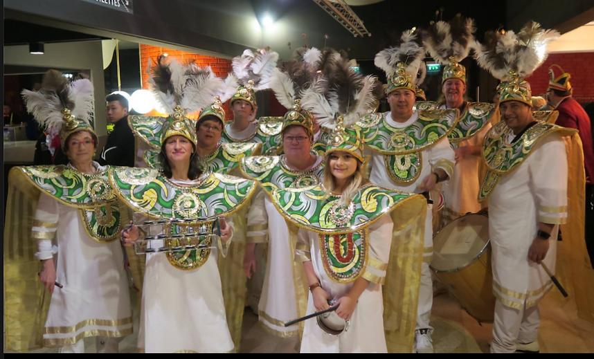 La Batucada au complet lors du Carnaval du Bouc Bleu à Shiltigheim le samedi, 4 mars.