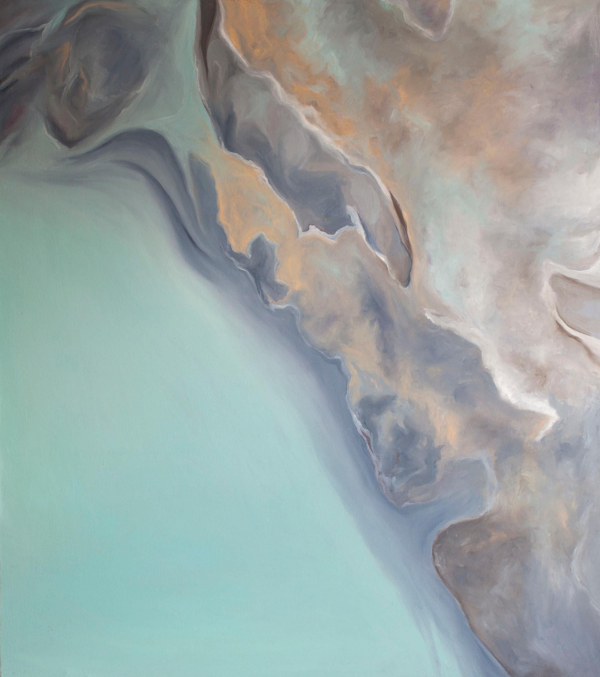 "Cyan Strönd (Coastline) Oil on Canvas   40.50"" x 36.00""   SOLD"