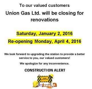 Union Gas Ltd. renovations to run from January 2 to April 3, 2016