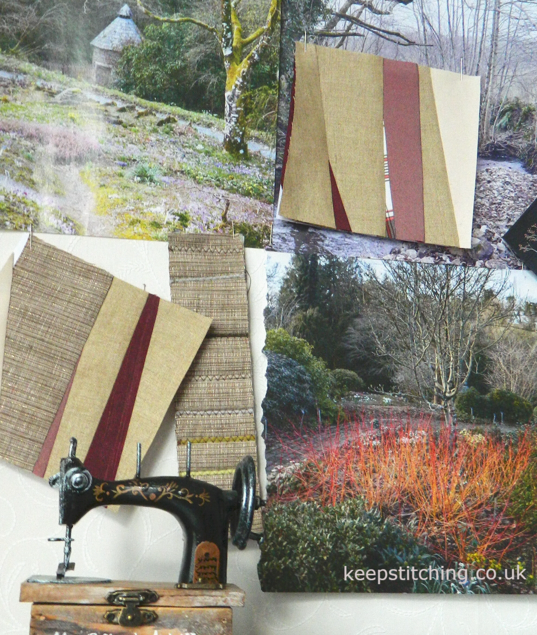 Colour inspiration. A winter landscape of bare branches inspired these quilt blocks.