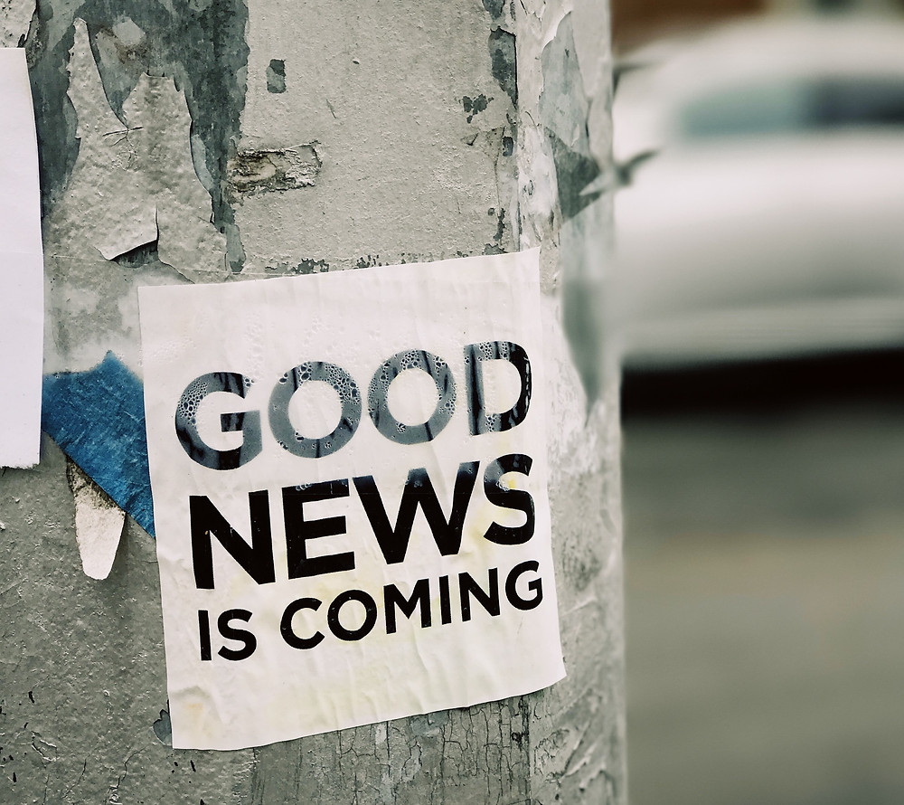 Poster on tree with the words good news is coming on it