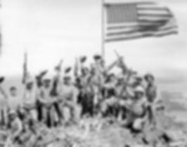 Marines on top of Mount Suribachi