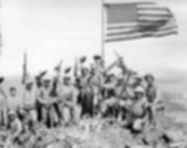 Marines on top of Mount Suribachi