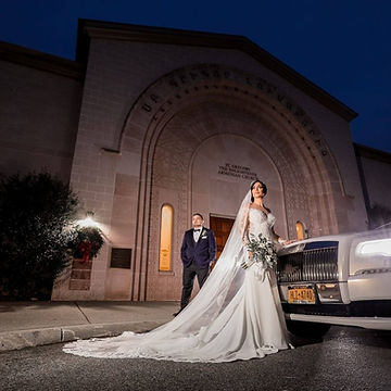 Bride and Goom with Rolls Royce