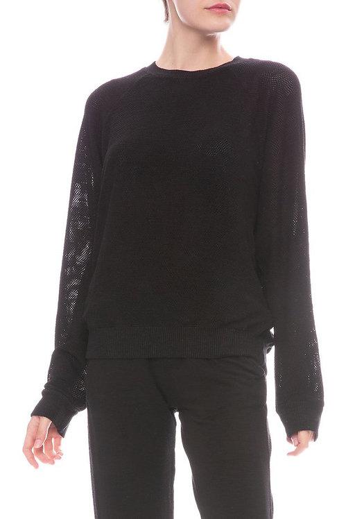 Monrow: Mesh Raglan Sweatshirt Black