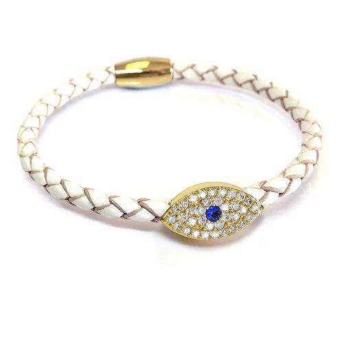 Liza Schwartz: Sapphire Evil Eye Leather Bracelet Gold/White