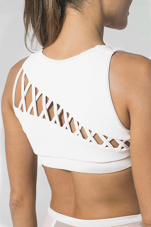 925Fit: Back In Business Bra - White