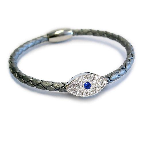Liza Schwartz: Sapphire Evil Eye Leather Bracelet Silver