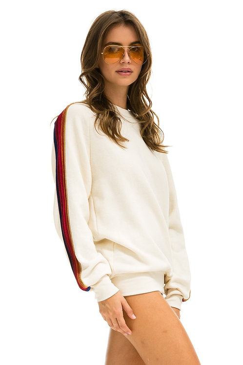 Aviator Nation:  Classic With Velvet Stripes Crew Sweatshirt Vintage White