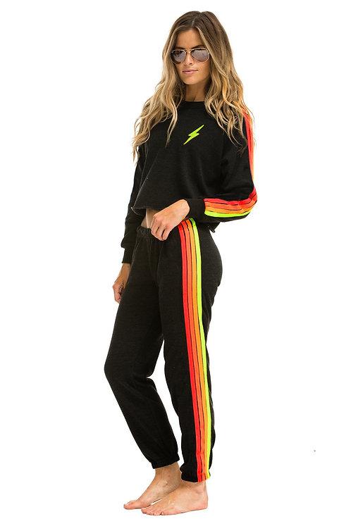 Aviator Nation: Bolt Embroidery Cropped Classic 4 Crew Sweatshirt Black Neon