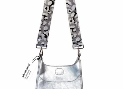 Ah-Dorned: Perforated Silver Neoprene Messenger Bag