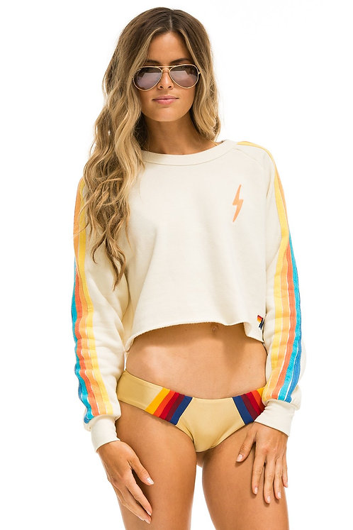 Aviator Nation: Bolt Classic Cropped Crew Sweatshirt VintageWhite/Orange