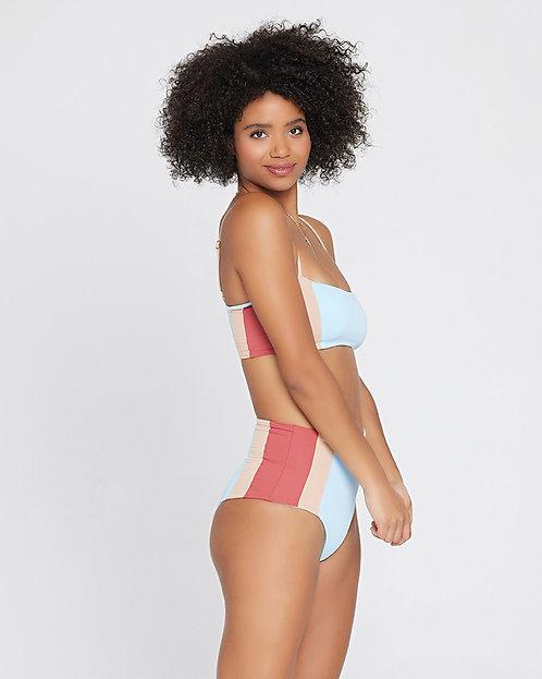 L Space: Portia Girl Classic Bikini Bottom Brick-Champagne/Sky Blue