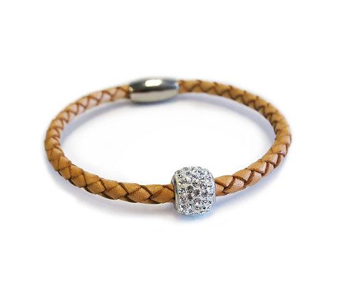 Liza Schwartz: Single Leather Camel/Silver Bedazzle Bracelet