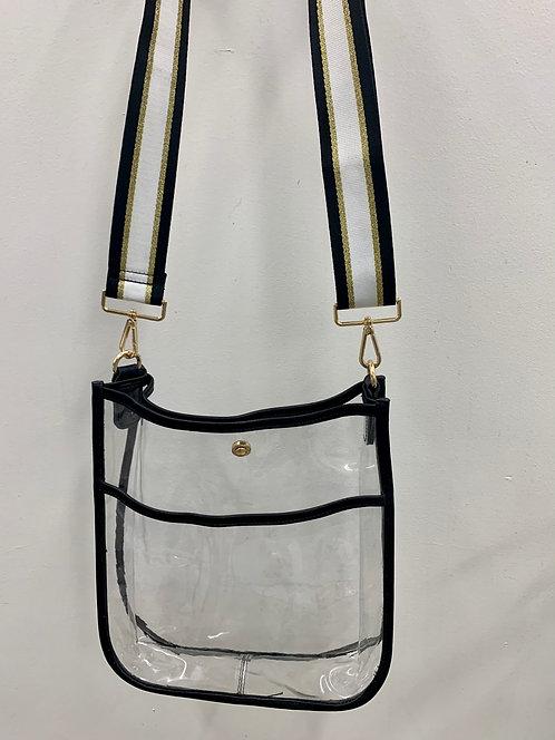 Ah-Dorned: Black Clear Messenger Bag- Strap INCLUDED