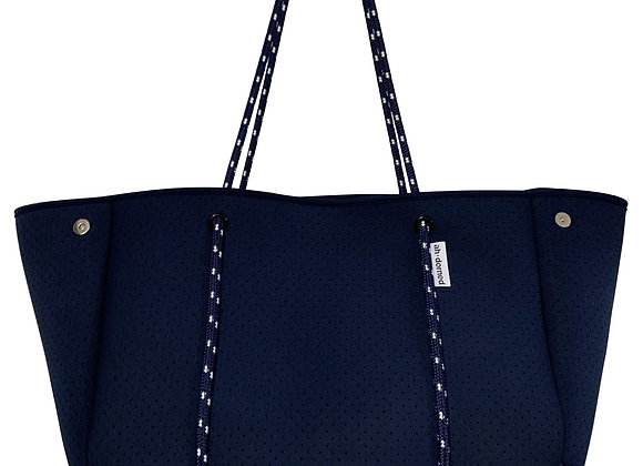 Ah-Dorned: Perforated Solid Navy Neoprene Tote w/Pop Color Interior