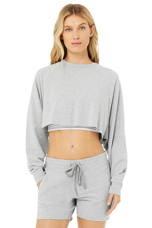 Alo Yoga: Double Take Pullover- Dove Grey Heather