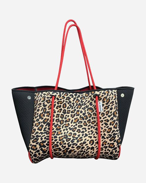 Ah-Dorned: Leopard Neoprene Bag w/ Black Perforated Sides & Red Straps