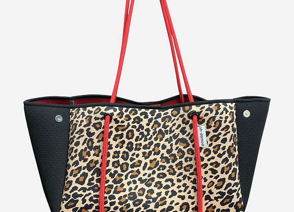 Ah-Dorned: Leopard Neoprene Bag w/ Black Perforated Sides & Red Straps