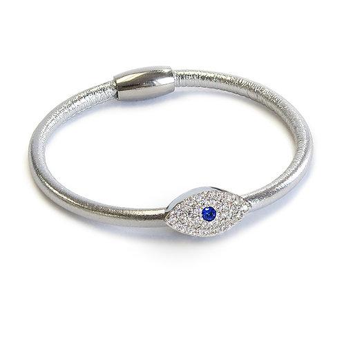 Liza Schwartz: Metallic Sapphire Evil Eye Silver Leather Bracelet