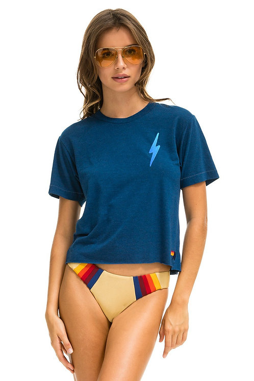 Aviator Nation: Bolt Embroidery Boyfriend Tee Royal/Light Blue