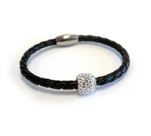 Liza Schwartz: Single Leather Bedazzle Bracelet in Black/Silver