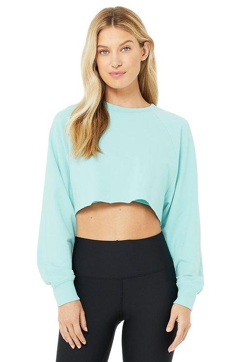 Alo Yoga: Double Take Pullover- Blue Quartz