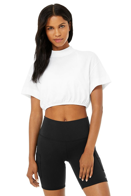 Alo Yoga: Kick It Crop Tee White