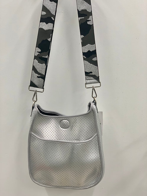 Ah-Dorned: Perforated Silver Neoprene Messenger Bag- Strap INCLUDED