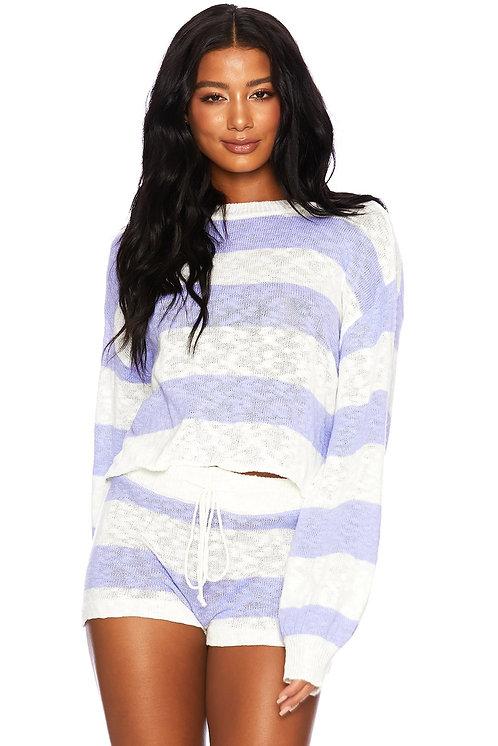 Beach Riot: Ava Sweater Sweet Lavender Stripe