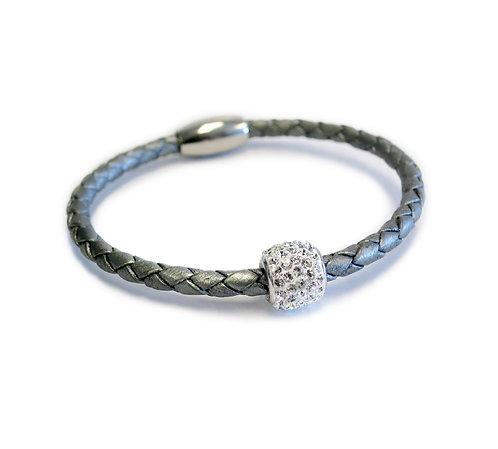 Liza Schwartz: Single Leather Bedazzle Bracelet in Gray/Silver