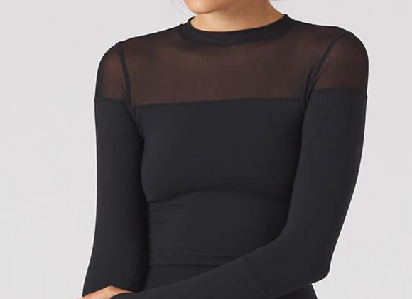 Glyder: Vent Mock Neck Long Sleeve Top Black