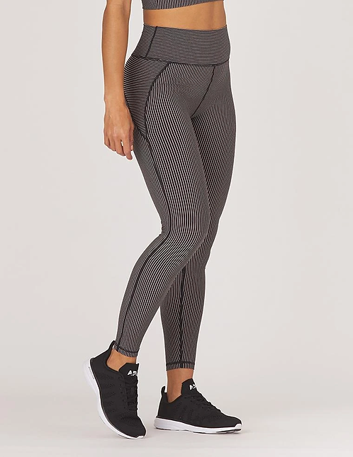 Glyder: Linear Legging Black Adobe Rose Stripe