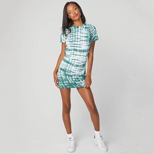 Monrow: Short Sleeve Shirred Dress Alligator Tie Dye