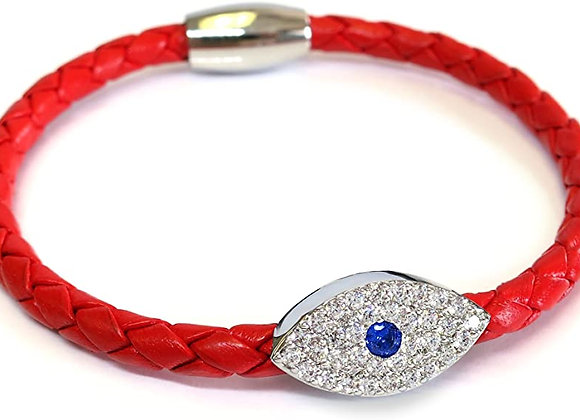 Liza Schwartz: Sapphire Evil Eye Leather Bracelet Silver Red