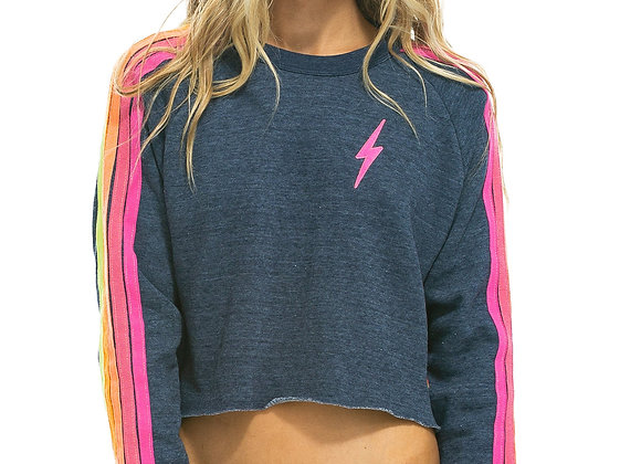 Aviator Nation: Bolt Embroidery Cropped Classic Crew Sweatshirt Heather Navy/Neo