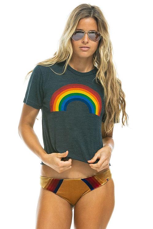 Aviator Nation: Big Rainbow Boyfriend Tee Charcoal