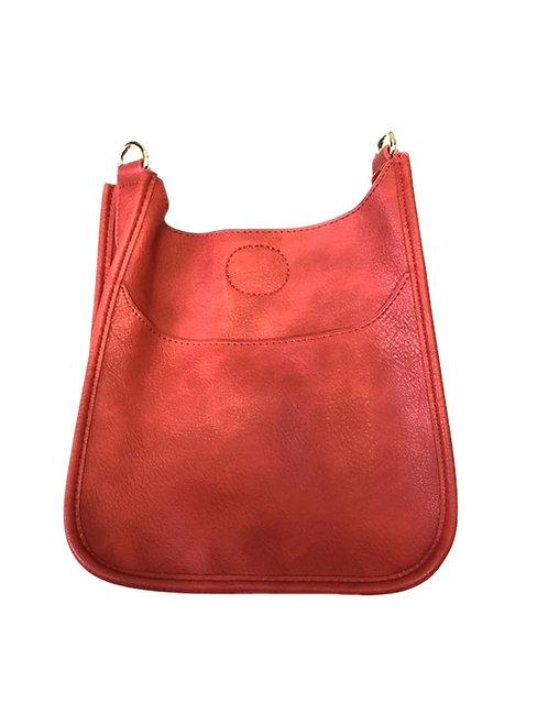 Ah-Dorned: Red Vegan Leather Messenger Bag-