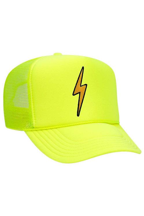 Aviator Nation: Vintage Bolt Low Rise Trucker Hat Neon Yeloow
