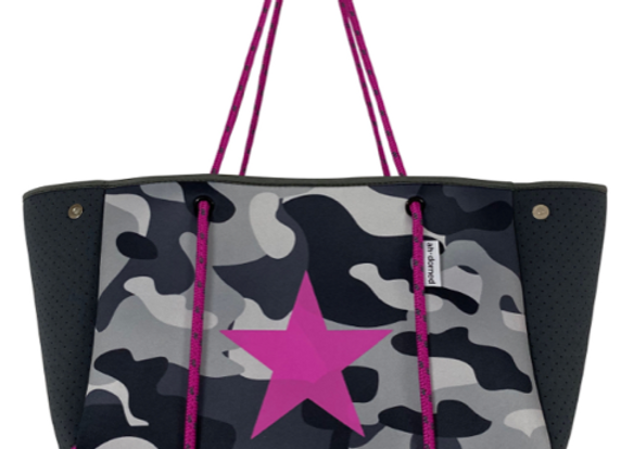 Ah-Dorned: Grey Camo Tote w/ Pink Star