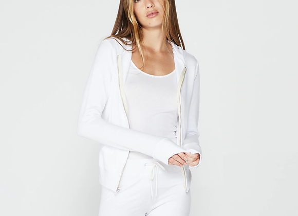 Monrow: Supersoft Zip Up White Hoody