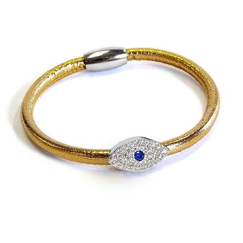 Liza Schwartz: Metallic Sapphire Evil Eye Gold Leather Bracelet