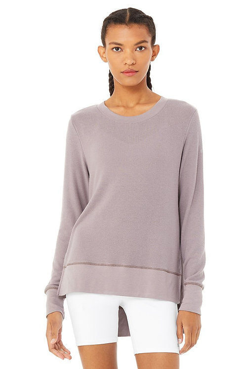 Alo Yoga: Glimpse Long Sleeve- Lavender Smoke