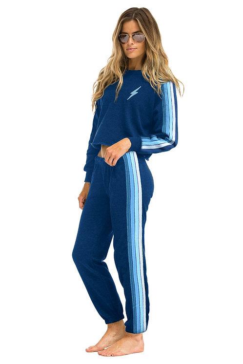 Aviator Nation: 4 Stripe Women's Sweatpants Royal/Light Blue