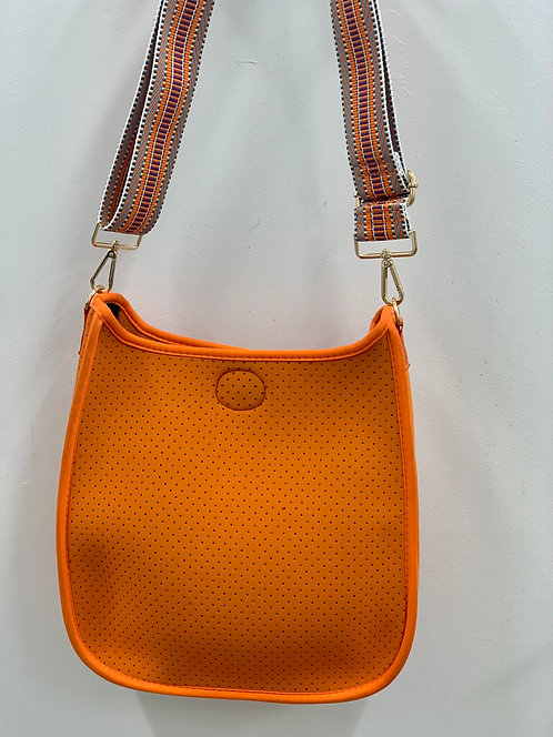 Ah-Dorned: Orange Perforated Messenger Bag- Strap INCLUDED