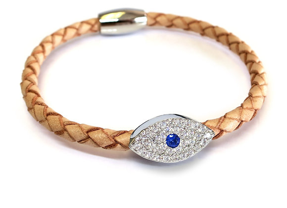 Liza Schwartz: Sapphire Evil Eye Leather Bracelet Silver Camel