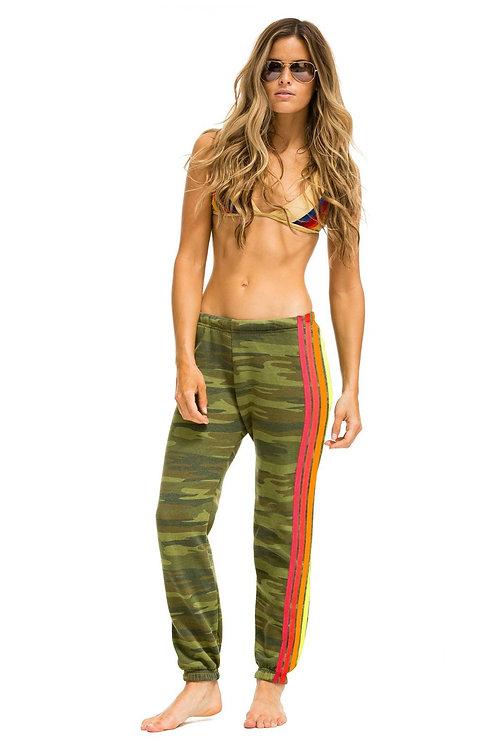 Aviator Nation: 4 Stripe Women's Sweatpants Camo Neon