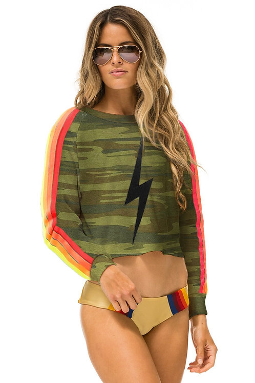 Aviator Nation: Bolt Stitch Cropped Classic 4 Crew Sweatshirt Camo Neon