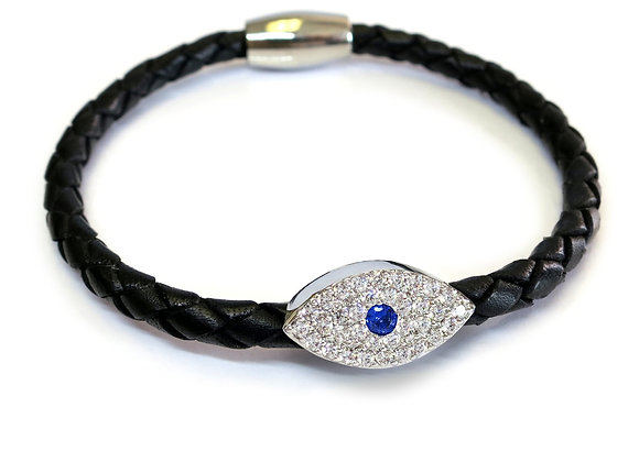 Liza Schwartz: Sapphire Evil Eye Leather Bracelet Silver Black