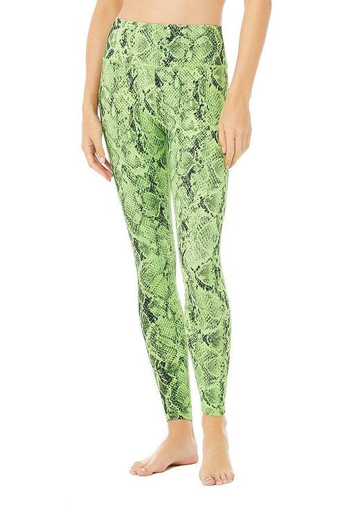 Alo Yoga: High Waist Snakeskin Vapor Legging- Neon Lime